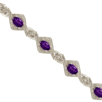 Allurez Antique Style Amethyst and Diamond Link Bracelet 14k White Gold (5.63ctw) at Sears.com