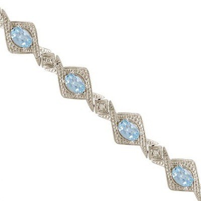 5.63ct Antique Style Aquamarine and Diamond Link Bracelet 14k White Gold