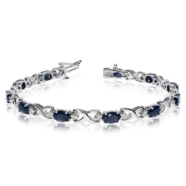 Allurez Oval Sapphire and Diamond XOXO Link Bracelet 14k White Gold (7.00ctw) at Sears.com
