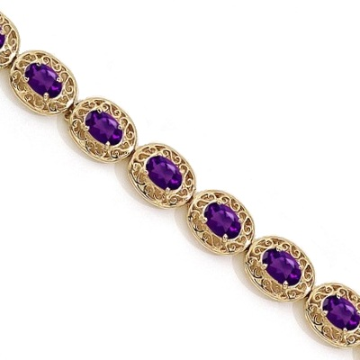 Amethyst Antique Style Filigree Link Bracelet 14k Yellow Gold (9.35 ctw)