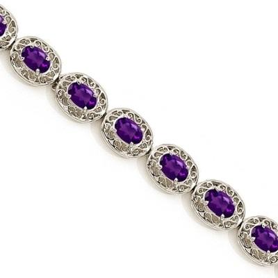 Amethyst Antique Style Filigree Link Bracelet 14k White Gold (9.35ctw)