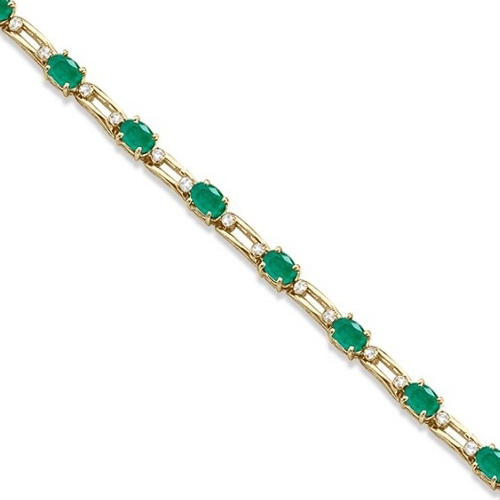 Allurez Diamond and Oval Cut Emerald Link Bracelet 14k Yellow Gold (7.50ctw) at Sears.com