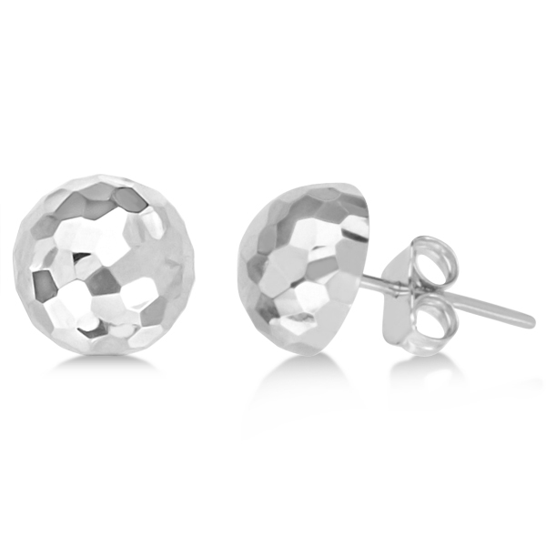 Half Disco Ball Hammered Stud Earrings 14k White Gold