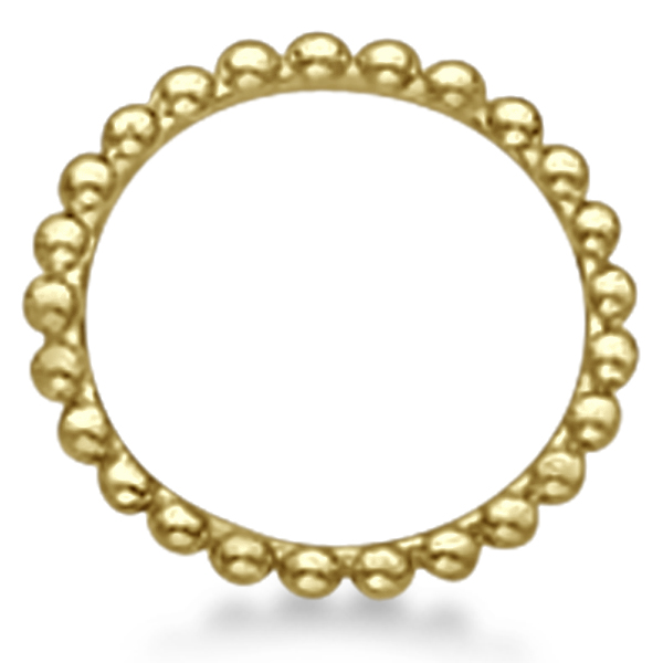 Women's Plain Metal Solid Beaded Stackable Ring 14k Yellow Gold