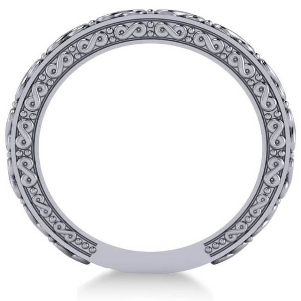 Infinity Design Etched Wedding Band 14k White Gold