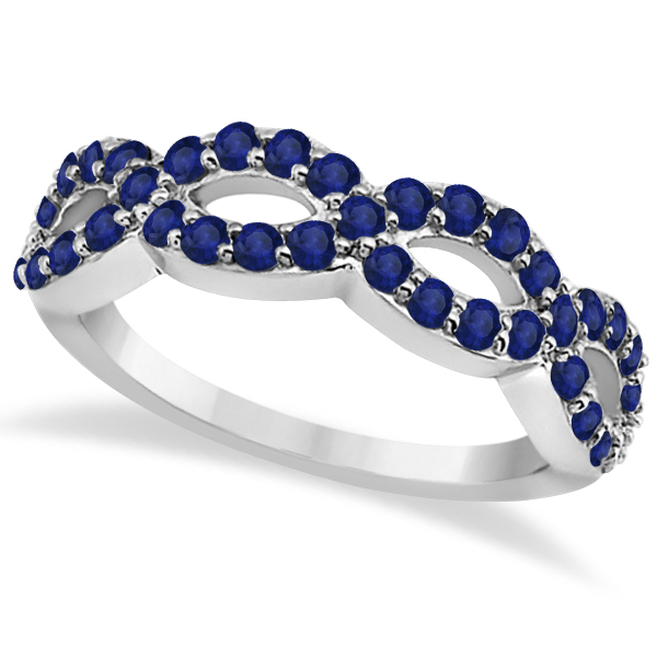 Pave Set Twisted Infinity Blue Sapphire Ring 14k White Gold (1.11ct)