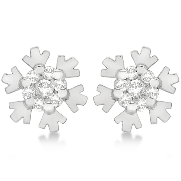 Ladies Diamond Snowflake Shaped Earring Studs 14k White Gold 0.12ct