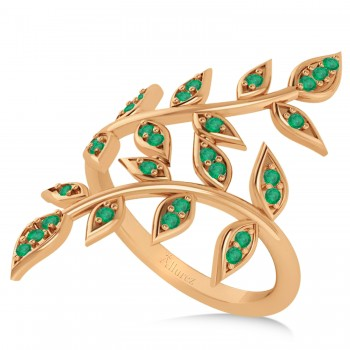 Emerald Olive Leaf Vine Fashion Ring 14k Rose Gold (0.28ct) If you know someone who loves plant inspired jewelry and admires the color green, then this ring might be the perfect accessory.The two olive leaf vines crawl up her finger delicately, and feature 16 emerald accented leaves.The 14k rose (pink) gold band is smooth and comfortable.The 28 emeralds total 0.28ct weight and are round in shape and eye clean.