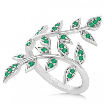 Emerald Olive Leaf Vine Fashion Ring 14k White Gold (0.28ct) If you, a friend, or a girlfriend loves plant inspired jewelry and admires the color green, then this ring might be the perfect accessory.The two olive leaf vines crawl up her finger delicately, and feature 16 emerald accented leaves.The 14k white gold band is smooth and comfortable.The 28 emeralds total 0.28ct weight and are round in shape and eye clean.