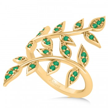 Emerald Olive Leaf Vine Fashion Ring 14k Yellow Gold (0.28ct) If you or your girlfriend loves plant inspired jewelry and admires the color green, then this ring might be the perfect accessory.The two olive leaf vines crawl up her finger delicately, and feature 16 emerald accented leaves.The 14k yellow gold band is smooth and comfortable.The 28 emeralds total 0.28ct weight and are round in shape and eye clean.
