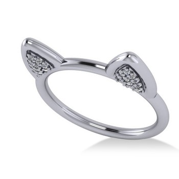 Diamond Cat Ears Fashion Ring 14k White Gold (0.22ct) Feline-inspired fashion accessories are all the rage with lovers of both anime and cats. Aglitter with 44 precious stones, our diamond cat ears fashion ring offers a fresh take on this purrfect trend. Set in 14k white gold, diamonds are rated G-H for color and SI1-SI2 for clarity, with a combined 0.22 total carat weight. This ring is also available in other metals.