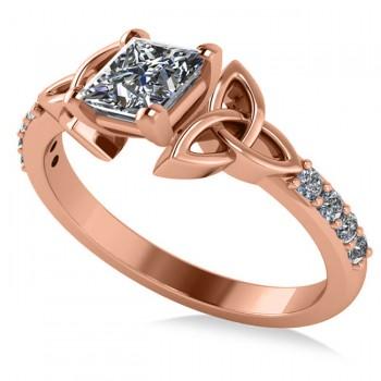 Princess Cut Diamond Celtic Knot Engagement Ring 14K Rose Gold 0.75ct