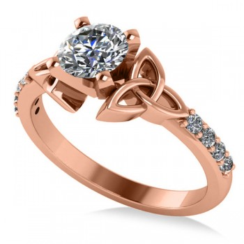 Round Diamond Celtic Knot Engagement Ring 14K Rose Gold 0.75ct