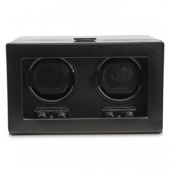 WOLF Heritage Men's Double Watch Winder Faux Leather Glass Cover Preset Programs Here's a stylish double automatic watch winder perfect for home or away. Constructed with black faux leather in a European design, this automatic WOLF watch winder measures a compact 10.25 inches wide x 7.5 inches deep x 6.25 inches high and features patented rotation programs to wind 2 watches simultaneously.It is uniquely styled with a tempered glass front cover with a chrome latch closure and knobs.It can operate on 2 D-cell batteries (not included) while on-the-go or runs on 110-240 V AC power with the 3.3 V adapter that comes with this unit.