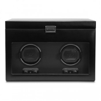 WOLF Heritage Men's Double Watch Winder w/ Storage Glass Cover Removable Travel Case This versatile, double automatic watch winder and storage box is steeped in European elegance. This WOLF watch winder for men has a black faux leather exterior, tempered glass front cover, chrome detailing in the latch closure and control panel.This watch winder box has a patented rotation technology of intermittent winding, along with pause and sleep phases that wind 2 automatic watches simultaneously.The top compartment has storage for 2 watches and also features a removable travel watch case with snap closure for an additional watch.This unit measures 12.75 inches wide x 7.75 inches deep x 8.75 inches high and may be powered either by 2 D-cell batteries (not included) or 110-240V AC Power with the 3.3 V adapter, included.