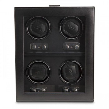 WOLF Heritage Men's 4 Watch Winder Faux Leather Glass Cover Preset Winding Programs A perfect watch winder for the watch aficionado! This 4 piece WOLF watch winder comes with patented rotation programs to ensure your expensive automatic watches keep ticking on.Measuring 10.75 inches wide x 6.5 inches deep x 13 inches high it has all the hallmarks of sophisticated European design with its faux leather exterior, tempered glass front cover, chrome latch closure and turn knobs. It runs on a 3.3V AC power adapter (included).