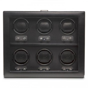 WOLF Heritage Men's 6 Watch Winder Faux Leather Glass Cover Preset Winding Programs You can't go wrong with this 6 piece WOLF watch winder made with European craftsmanship and preset patented rotation programs. This automatic watch winder comes with a faux leather exterior and tempered glass cover to securely store and wind up to 6 watches simultaneously.Measuring 15.5 inches wide x 6.5 inches deep x 13 inches high, it has a very distinguished look with its chrome plated latch closure and turn knobs. Wind your automatic watches powered by the 3.3V AC power adapter (included).