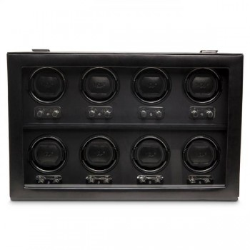 WOLF Heritage Men's 8 Watch Winder Faux Leather Glass Cover Preset Winding Programs Winding all your automatic watches at once is now a snap! This automatic WOLF watch winder is made with European craftsmanship and has patented preset rotation programs to store and wind up to 8 watches simultaneously.Its black faux leather exterior and tempered glass cover can securely store and wind your most expensive watches.Measuring 26 inches wide x 17 inches deep x 11 inches high it has a chrome finish closure, control panel and is powered exclusively by the 3.3V AC power adapter that comes with this unit.
