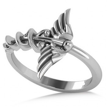 Caduceus Medical Symbol Novelty Ladies Ring 14k White Gold According to legend, the Caduceus represents the winged staff carried by the Greek god Hermes, also know by the Romans as the god Mercury, and is a symbol long associated with healing and medicine. Our Caduceus ring, fashioned in polished 14k white gold, makes a thoughtful gift for a doctor, nurse or paramedic. You'll receive free engraving with your purchase. This ring is also available in other metals.