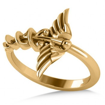 Caduceus Medical Symbol Novelty Ladies Ring 14k Yellow Gold This striking ring features the Caduceus symbol, long associated with healing and medicine.  According to legend, the Caduceus represents the winged staff carried by the Greek god Hermes, also know by the Romans as the god Mercury. Fashioned in polished 14k yellow gold, it makes a thoughtful gift for a doctor, nurse or paramedic. You'll receive free engraving with your purchase. This ring is also available in other metals.