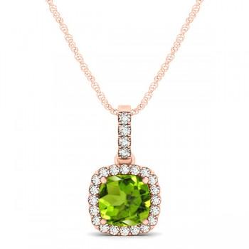 Peridot & Diamond Halo Cushion Pendant Necklace 14k Rose Gold (0.75ct)