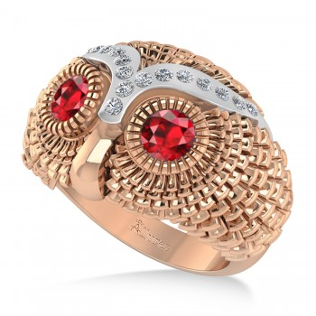 Men's Owl Diamond & Ruby Accented Fashion Ring 14k Rose Gold (0.74ct) Try on some class with our mens owl diamond and ruby fashion ring.This ring features a 14k rose gold construction, a wide band and an even wider bezel. Mounted to the brow of the owl shaped bezel are 16 brilliant round diamonds. The diamonds flank a duet of ruby that form the eyes of the owl. The diamonds total 0.74ct in weight, and are of G-H color and SI1-SI2 clarity. The stones are red and eye clean. This ring will let any man shine.This ring, like most jewelry here all Allurez, is available in a variety of precious metal options. Contact us for more information.
