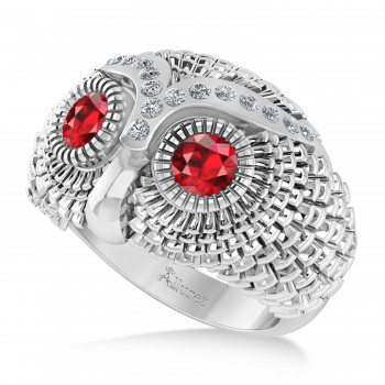 Men's Owl Diamond & Ruby Accented Fashion Ring 14k White Gold (0.74ct) Try on some class with our mens owl diamond and ruby fashion ring.This ring features a 14k white gold construction, a wide band and an even wider bezel. Mounted to the brow of the owl shaped bezel are 16 brilliant round diamonds. The diamonds flank a duet of ruby that form the eyes of the owl. The diamonds total 0.74ct in weight, and are of G-H color and SI1-SI2 clarity. The stones are red and eye clean. This ring will let any man shine.This ring, like most jewelry here all Allurez, is available in a variety of precious metal options. Contact us for more information.