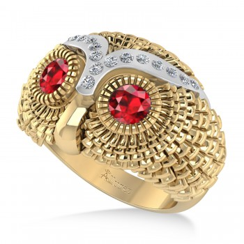 Men's Owl Diamond & Ruby Accented Fashion Ring 14k Yellow Gold (0.74ct) Try on some class with our mens owl diamond and ruby fashion ring.This ring features a 14k yellow gold construction, a wide band and an even wider bezel. Mounted to the brow of the owl shaped bezel are 16 brilliant round diamonds. The diamonds flank a duet of ruby that form the eyes of the owl. The diamonds total 0.74ct in weight, and are of G-H color and SI1-SI2 clarity. The stones are red and eye clean. This ring will let any man shine.This ring, like most jewelry here all Allurez, is available in a variety of precious metal options. Contact us for more information.