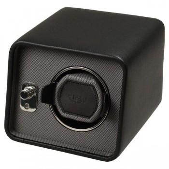 WOLF Windsor Men's Single Watch Winder in 2 Color Choices of Faux Leather This is a WOLF single watch winder for men that's perfect for home or travel.Crafted with a black or brown pebble textured faux leather exterior, this watch winder features a silk fabric faceplate, polished chrome control panel and a lock-in cuff that accommodates a wrist size larger than 10 inches.Wind your automatic watch with this watch winder's patented winding program that simulates natural wrist action with sleep and pause phases built into its multi-directional rotation settings.Measuring a compact 6.5 inches wide x 7 inches deep x 5.25 inches high, this watch winder can wind 1 watch powered either by 2 D-cell batteries (not included) or AC power with a 3.3V adapter (included with this unit). Available in Black and Brown.
