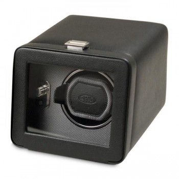 WOLF Windsor Men's Single Watch Winder in Faux Leather with Glass Front Cover This is an elegant WOLF single watch winder that keeps your automatic watch perfectly wound.This watch winder is crafted with a pebble textured exterior in black or brown faux leather and comes with a glass front cover, chrome accents and clasp closure.A patented rotation program of intermittent winding with sleep and pause phases simulates the natural wrist action to keep your automatic watch wound and ready at moment's notice.This watch winder can wind 1 watch with 2 D-cell batteries (not included) or with the 3.3V AC power adapter that's included with this unit. Measuring a compact 6.5 inches wide x 8 inches deep x 5.25 inches high, this is a single watch winder to carry along for that vacation. Available in Black and Brown.