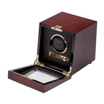 WOLF Savoy Men's Single Watch Winder with Glass Cover, Key Lock Closure 2 Colors Constructed with a solid wooden frame, this WOLF single watch winder is a medley of aesthetic and functional detailing.Available in a rich burlwood or piano black exterior with corresponding gold or chrome plated hardware, this watch winder features a backlit LCD display, a textured black silk lined faceplate and a see-through tempered glass cover.An LED signal in this watch winder indicates if the unit is running smoothly or needs trouble shooting.This watch winder offers 57 winding options that can be programmed to meet the requirements of most automatic watches. Select the rotation options ranging from 300-1200 turns per day, rotation direction of clockwise, counterclockwise or bi-directional and delayed start options ranging between 6 hours to 72 hours.Wind you watch at home or on-the-go powered either by 2 D-cell batteries that are not included with this unit or 110-220V AC power (3.3V adapter included). Measuring 7.5 inches wide x 8.25 inches deep x 8 inches high, this single watch winder's lock-in cuff can wind even your heaviest watches. With a key lock closure, this watch winder offers a secure spot to wind and store your most prized watch. Available in Brown and Black.
