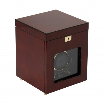 WOLF Savoy Men's Single Watch Winder w/ Storage Box Glass Cover Key Lock 2 Colors Here's a WOLF single watch winder and 3 watch storage case that's sure to delight the watch aficionado.Constructed with a solid wooden frame, this watch winder has aesthetic detailing of a rich burlwood or piano black exterior, gold or chrome plated hardware, textured black silk lined faceplate and a tempered glass cover.This watch winder box also comes with a small backlit LCD display and a convenient LED indicator. With a key lock closure you can securely wind 1 automatic watch and store up to 3 watches in the black silk lined top section of this watch winder and storage box.This watch winder offers 57 customizable winding program options to meet the needs of your automatic watch, combining a range of rotations (300-1200 turns per day), directions (clockwise, counterclockwise or bi-directional) and delay start options (6-72 hours).This watch winder can be operated with 2 D-cell batteries (not included) or 110-220V AC power (3.3V adapter included) making it a practical gadget for use at home or away. Measuring 8 inches wide x 8 inches deep x 10.25 inches high, this is a perfect gift for the watch collector in your life. Available in Brown and Black.