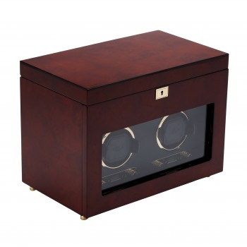 WOLF Savoy Men's Double Watch Winder & Storage Box Glass Cover Key Lock 2 Colors This WOLF double watch winder and 6 watch storage case is an irresistible buy for the watch collector.Constructed with a solid wooden frame, this watch winder comes in a choice of rich burlwood or piano black veneer with gold or chrome plated accents. The textured black silk lined faceplate and a tempered glass cover make it a great display case for your prized watches.The range of rotations (300-1200 turns per day), directions (clockwise, counterclockwise or bi-directional) and delay start (6-72 hours)options combine to provide 57 winding program settings that meet the specifications of your automatic watch. This watch winder box also features a backlit LCD display, a convenient LED indicator, and a lock-in cuff to fit even the heavy watch.The key lock closure allows for secure winding of 2 automatic watches simultaneously and storage of 6 watches in the black silk fabric lined top compartment.This watch winder box runs on 2 D-cell batteries (not included) or with a 3.3V adapter (included) on 110-220V AC power. Measuring 13.5 inches wide x 8 inches deep x 10.25 inches high, this is a thoughtful gift to consider for your watch collector man. Available in Brown and Black.