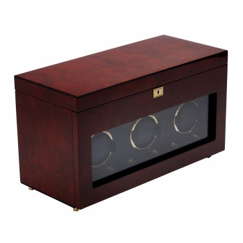 WOLF Savoy Men's Triple Watch Winder w/ Storage Travel Case Glass Cover Key Lock This WOLF triple watch winder and 6 watch storage case is an effortless fusion of style and function.Constructed with a solid wooden frame, this watch winder comes with a choice of 2 wood veneer exteriors and corresponding gold or chrome plated accents. The tempered glass cover and textured black silk faceplate make it an alluring display case for your most expensive watches.Custom wind your automatic watch with this watch winder that offers 57 winding program selections, combining myriad rotation (300-1200 turns per day), direction (clockwise, counterclockwise or bi-directional) and delay start (6-72 hours) options. This watch winder box also features a lock-in cuff to fit even the heaviest watch, a backlit LCD display, and a convenient LED indicator.This watch winder is secured with a key lock closure and the top storage section has 5 black silk fabric lined compartments to house 5 watches. The top storage section also features a removable travel watch case with snap closure to store and carry along 1 additional watch. Wind your watches with the 3.3V adapter (included with unit) on 110-220V AC power or 2 D-cell batteries (not included). Measuring 18 inches wide x 8 inches deep x 10.25 inches high, this is a thoughtful gift for the man with a large collection of watches. Available in Brown and Black.