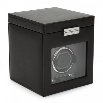 WOLF Viceroy Men's Single Watch Winder 3 Timepiece Storage Faux Leather Glass Door Here's a handsome WOLF single watch winder and watch box that secures up to 4 of your prized quartz or automatic watches. This watch winder comes with patented customizable rotation programs to wind 1 watch and also features a top storage compartment with watch pillows to store up to 3 additional watches.This watch winder is built with a solid wooden frame and crafted with a stylish black pebble textured exterior, silver textured silk faceplate, a tempered glass cover, chrome accents and a key lock closure.Wind you automatic watch either on AC power with the 3.3V adapter that's included with this unit or 2 D-cell batteries that are not included. Measuring 7.5 inches wide x 8 inches deep x 9 inches high, this watch winder and storage box comes with a lock in cuff that accommodates wrist size in excess of 10 inches.