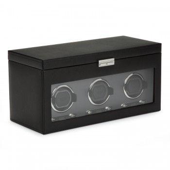 WOLF Viceroy Men's Triple Watch Winder 6 Timepiece Storage Faux Leather Glass Door The more extensive your watch collection, the more you'll need this WOLF triple watch winder with additional storage box for 6 watches.This triple watch winder can wind up to 3 automatic watches simultaneously with its patented customizable rotation programs. The top storage section features 5 watch pillows to store your quartz or automatic watches and a removable travel watch case with snap closure to carry along 1 additional watch.This watch winder for men is constructed with a solid wooden frame and features a stylish black pebbled textured faux leather exterior, silver textured silk faceplate, a tempered glass cover, chrome finish accents, a key lock closure and a lock-in cuff to hold even the larger watch.Measuring 17.5 inches wide x 8 inches deep x 9 inches high, this triple watch winder operates on AC power with a 3.3V adapter (included) or 2 D-cell batteries (not included). This is a perfect gift for the watch aficionado that'll stand the test of time.