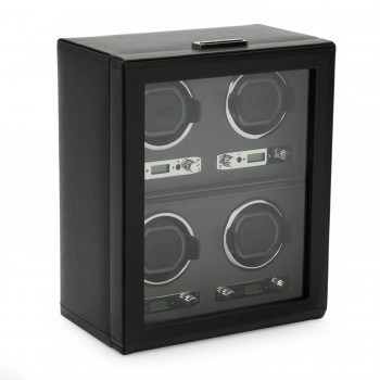 WOLF Viceroy Men's Watch Winder for 4 Timepieces in Faux Leather w/ Glass Door Lock Wind up to 4 automatic watches simultaneously in this WOLF watch winder that comes with customizable rotation programs.This watch winder box features a handcrafted wooden frame, an elegant black pebble faux leather finish exterior, silver textured silk faceplate, and chrome hardware.A see-through glass cover and a key lock closure makes it that secure display case for your automatic watches. This watch winder also comes with a lock-in cuff that accommodates a wrist size larger than 10 inches.Measuring  10.75 inches wide x 6.5 inches deep x 13 inches high, this watch winder operates exclusively on AC power with the 3.3V adapter that comes with it. With a durable design and unbeatable features this is a watch winder that's sure to stand the test of time.