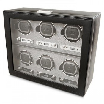 WOLF Viceroy Men's Watch Winder for 6 Timepieces in Faux Leather w/ Glass Door Lock Form and function combine effortlessly in this WOLF watch winder that makes it a perfect gift for the watch connoisseur.This watch winder features patented rotation programs that simulate wrist action to keep up to 6 of your automatic watches ticking on.A handcrafted wooden frame is swathed with a black faux leather exterior, glass cover in the front and a silver textured silk faceplate. Chrome plated accents and key lock closure make this watch winder a secure spot for your prized watches.Measuring 15.75 inches wide x 6.5 inches deep x 13 inches high, this watch winder features a lock-in cuff that fits the larger watch too. Wind up to 6 watches simultaneously with the 3.3V adapter (included with this unit) on AC power.