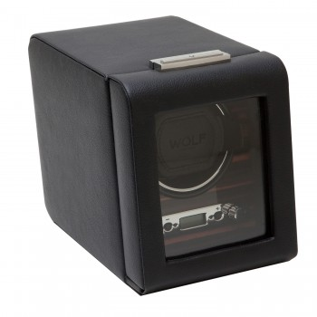 WOLF Roadster Men's Wooden Faux Leather Single Watch Winder Box w/ Key Lock Closure Wind your automatic watch on-the-go or at home with this exquisite WOLF wooden frame and distressed pebble faux leather single watch winder.This automatic watch winder features a tempered glass door that can be locked with a key, an exotic wood veneer faceplate, a backlit LCD display, chrome plated turn knobs, and patented preset rotation programs.This single watch winder box measures 5.5 inches wide x 8.75 inches deep x 6.75 inches high and can wind 1 watch with 2 D-cell batteries that are not included or with 110-240 V AC Power:3.3 V adapter included.