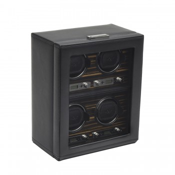 WOLF Roadster Men's 4 Watch Winder in Faux Leather w/ Glass Cover & Key Lock Closure Here's an elegantly designed WOLF watch winder to wind and display your expensive watch collection.This watch winder box features a solid handcrafted wood frame, a black pebble textured faux leather exterior, an Ebony Macassar wood veneer, and a sturdy tempered glass door. This unit also comes with a backlit LCD display, chrome plated control panel, and a key lock closure.Measuring 10.75 inches wide x 6 inches deep x 13 inches high, this watch winder can wind up to 4 watches simultaneously with a lock-in cuff that accommodates even the larger watch with wrist size in excess of 10 inches.Wind your watches on 110-220V AC power with the 3.3V adapter that comes with this unit and your automatic watches won't miss a beat with this watch winder's patented preset rotation programs.