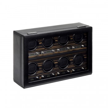 WOLF Roadster Men's 8 Watch Winder in Faux Leather w/ Wood Veneer, Glass & Key Lock Here's an 8 piece WOLF watch winder that doubles up as an attractive display case to show off your prized watches.This watch winder is constructed with a handcrafted wooden frame, an exquisite Ebony Macassar wood veneer, supple black pebble faux leather exterior, a glass cover, chrome plated fittings and a key lock closure.This watch winder box features a backlit LCD display and patented winding choices that keeps up to 8 automatic watches wound and ready for use at moment's notice. Powered exclusively on 110- 220V AC power, this unit comes with a 3.3V adapter.Measuring 20 inches wide x 6.5 inches x 13 inches high, this 8 piece watch winder is sure to top every watch aficionado's wish list.