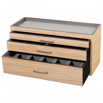 WOLF Meridian Wooden Modular 3 Drawer Dresser Valet & Watch Storage Box in 3 Colors Take a look at this WOLF watch box that stores up to 5 watches and other accessories. This dresser valet features 3 drawers in a choice of wood veneers, black or silver silk fabric lined interiors and chrome or gold hardware.The bottom divided drawer can store up to 5 watches and the top 2 drawers can be used to store pens, cufflinks, or even a watch toolkit. The top of this watch box is recessed and houses a cell phone, keys and other accessories.This valet and watch storage box measures 15.5 inches wide x 6.25 inches deep x  8 inches high and can be used singly or stacked with similar units to create a larger modular storage unit. Available in Cream, Black and Brown.