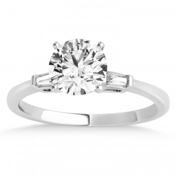 Tapered Baguette Three Stone Diamond Engagement Ring 14k White Gold (0.10ct)