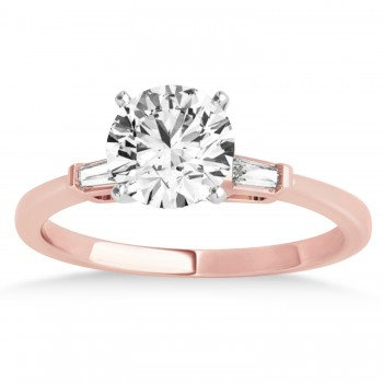 Tapered Baguette Three Stone Diamond Engagement Ring 18k Rose Gold (0.10ct)