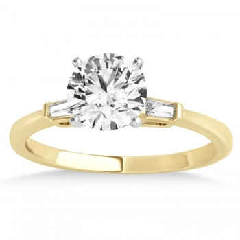 Tapered Baguette Three Stone Diamond Engagement Ring 18k Yellow Gold (0.10ct)