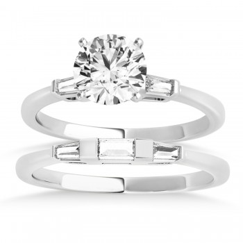 Tapered Baguette Three Stone Diamond Bridal Set 14k White Gold (0.30ct)