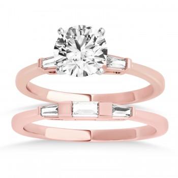 Tapered Baguette Three Stone Diamond Bridal Set 18k Rose Gold (0.30ct)