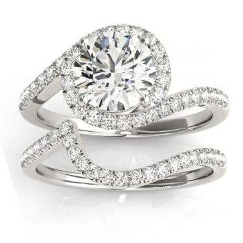 Diamond Halo Swirl Bridal Engagement Ring Set14k White Gold 0.43ct