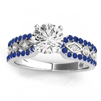Diamond & Sapphire Bridal Set Setting 14k White Gold (0.38 ct)