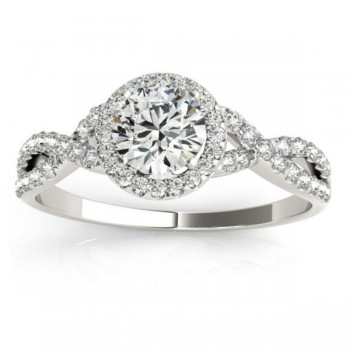 Twisted Infinity Halo Diamond Engagement Ring 14k White Gold (0.20ct)
